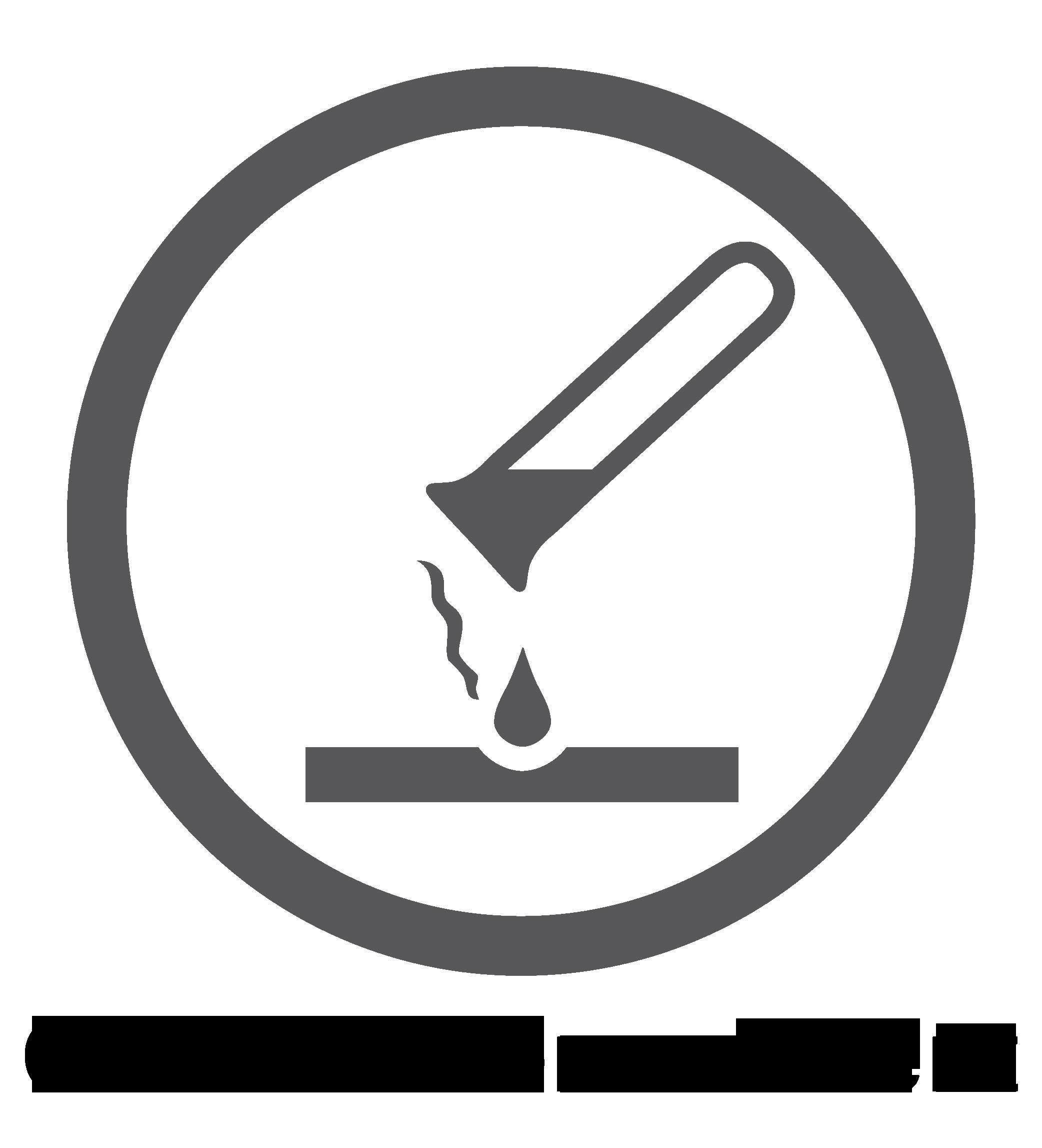 Chemikalienresistente Oberfläche – Logo